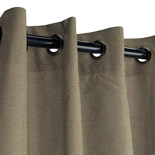 Sunbrella Canvas Taupe Outdoor Curtain with Dark Gunmetal Grommets 50 in. Wide x 84 in. Long