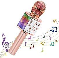 Ankuka Microphone karaoké sans Fil, 4 en 1 Microphone Bluetooth Portable Lecteur Karaoké avec Lumières LED de Danse, pour...