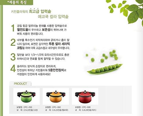 KitchenFlower EcoCook Ceramic Pressure Cooker Yellow 3.5L