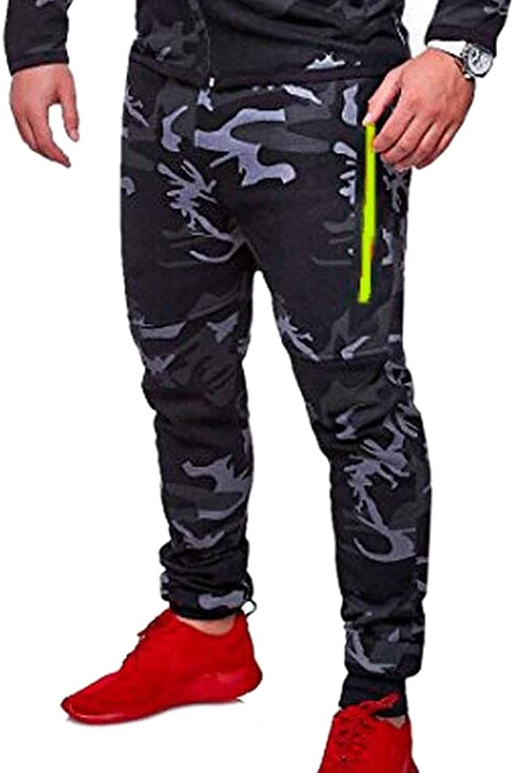 WSPLYSPJY Men Leisure Camouflage Runnung Fitness Activewear Running Trousers