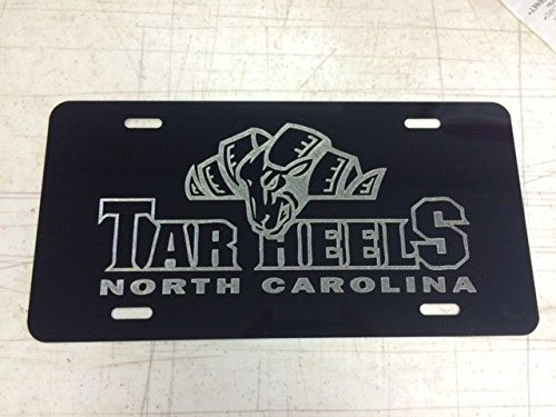 (Diamond Etched UNC Tar Heels Car Tag on Black Aluminum License Plate)