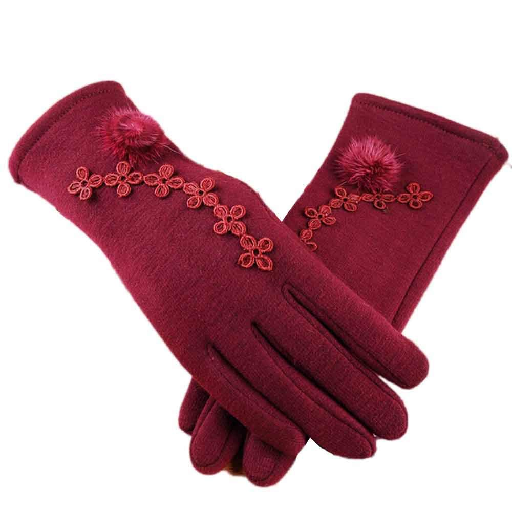 Women Cashmere Keep Warm Driving Full Finger Gloves Winter Wrist Gloves by Teresamoon