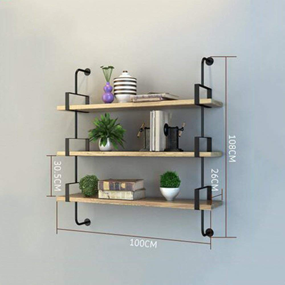 3 Layers 100cm DYR Shelving Multi-Storey Shelving Wall Suspension for Bedroom Club Hotel Living Room (color  1 Layer 100cm)