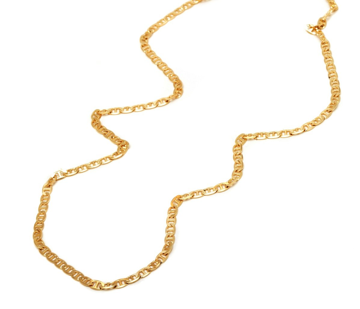 18 Karat Yellow Gold 3.2mm Thick Mariner Link Chain Necklace - Marina Link - Made In Italy- 20''