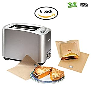 Non-Stick and Reusable Toaster Bags (Set of 6) by Coju Gear 100% Easy To Clean Perfect For Sandwiches Hot Dogs, Chicken, Grilled Cheese, Vegetables, Panini & Garlic Toast