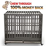Cheap KELIXU 46″ Heavy Duty Dog Crate Ultra-High Hardness Enhanced Steel Pet Kennel Playpen with Two Prevent Escape Lock, Large Dogs Cage with Four Wheels,Black