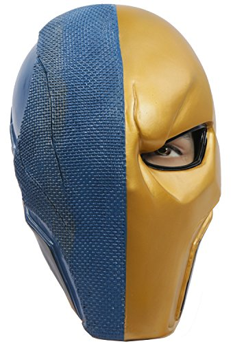 Supervillain Costume Mask Helmet Cosplay Accessories for Halloween Costumes Blue Gold (Super Villain Costumes For Men)