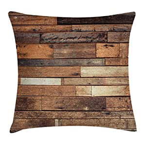 Ambesonne Wooden Throw Pillow Cushion Cover, Rustic Floor Planks Print Grungy Look Farm House Country Style Walnut Oak Grain Image, Decorative Square Accent Pillow Case, 20 X 20 Inches, Brown