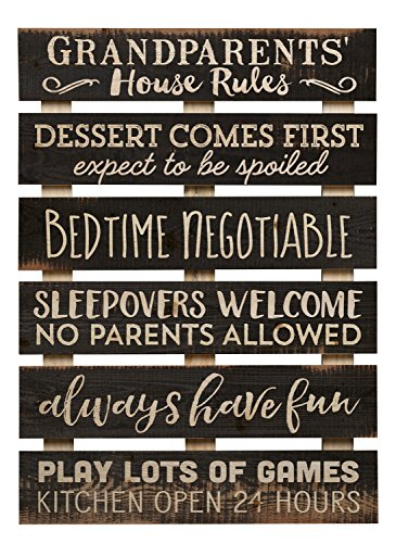 Grandparents House Rules Dessert Always Have Fun 17 x 24 Inch Solid Pine Wood Skid Wall Plaque Sign