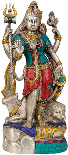 Ardhanarishvara Shiva Shakti – Brass Statue with Inlay