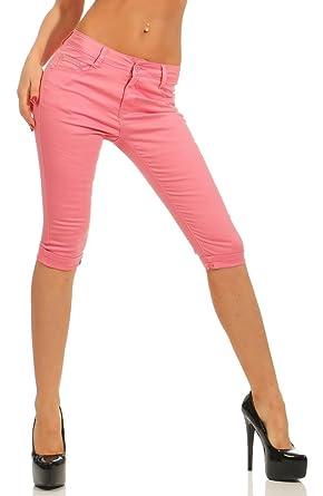 216d068dd7cc Fashion4Young 11531 Damen Caprihose Slimline Capri Hose Sommerhose Pants  Slim-Fit Übergrößen (altpink,