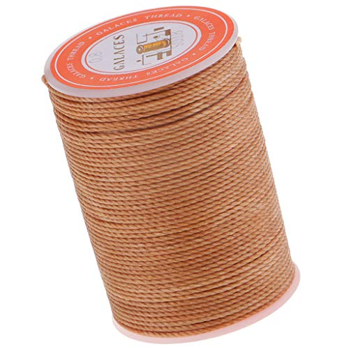 Prettyia 1 Spool 60 Yards Leather Sewing Round Waxed Thread Cord 0.8mm DIY Hand Stitching Craft - Light Brown