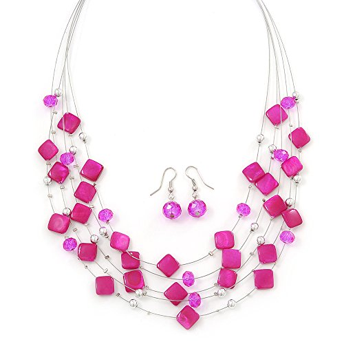Shell And Bead Drop Necklace (Fuchsia Square Shell & Crystal Floating Bead Necklace & Drop Earring Set - 52cm Length/ 6cm extension)