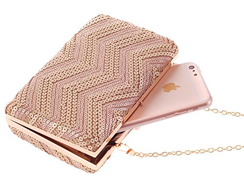 Color : Champagne RABILTY Sequin Evening Party Bag Business Handbag Womens Clutch Purse Bag