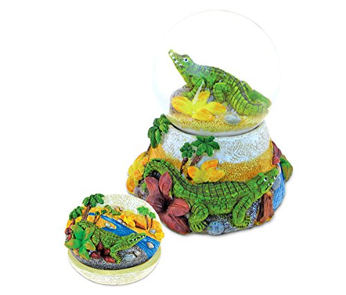 Puzzled Alligator Resin Stone Collection Jewelry Box and Snow Globe - Unique Elegant Gift and Souvenir - Alligator Treasures Collection