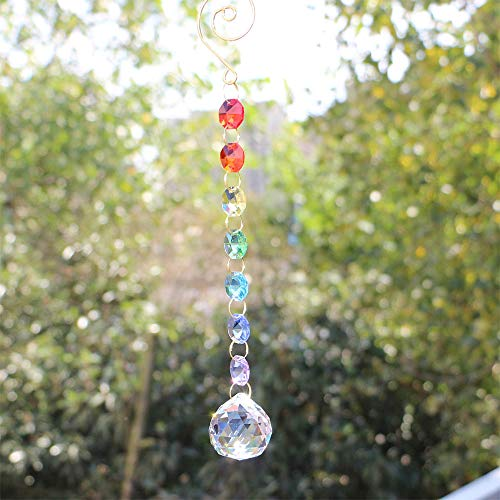 Fairy Suncatcher - fairy maker Clear Crystal Ball Suncatcher,Chakra Prism Rainbow Maker,Decorating Hanging Balls,8.6 inch Long