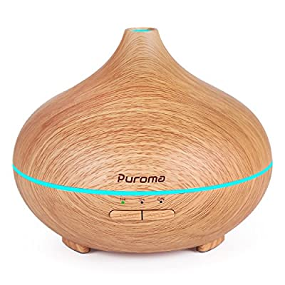 Puroma 150ml Aromatherapy Essential Oil Diffuser Wood Grain Ultrasonic Diffusers Cool Mist Humidifier with 7 Colorful LED Lights and Waterless Auto Shut-off for Home Office Bedroom Yoga Spa
