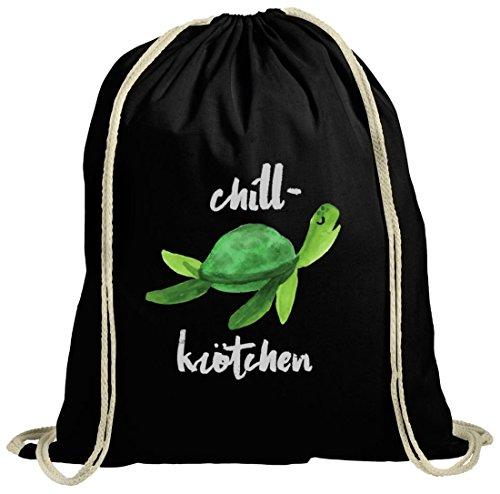 ShirtStreet Turtle Schildkröte natur Turnbeutel mit Chillkrötchen 2 Motiv Schwarz Natur PGvaXhU5Rm