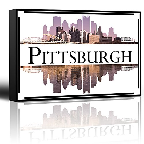 wall26 - City Skyline Series - Pittsburgh - Colorful Urban Decor - Sunsets and Silhouettes Famous Buildings and Landmarks - Canvas Art Home Decor - 24x36inches