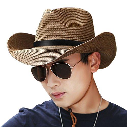 JIAHG Men Cowboy Sun Hat Foldable Straw Hat Classic Western Newsboy Cap Summer Wide Brim Roll Up Raffia Cowboy Hat Fedora Hat with String Sun Visor BeachSunshade Bucket Outdoor Fishing ()