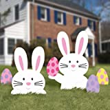 "Easter Bunny Yard Party Outdoor Plastic Sign Decoration (5 Pieces), Multi Color, Assorted Sizes, 23.5"" x 17"" (Package Size)."