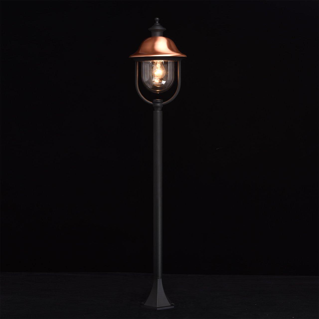 MW-Light 805010401 Lampada Pendente da Esterno in Alluminio Acrilico Colore Nero Rame 1 x 95W E27 Escl Lampada Da Terra Alta 1 Luce Per Esterno