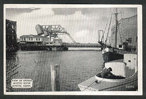 View of Bridge Mystic River Mystic CT postcard -