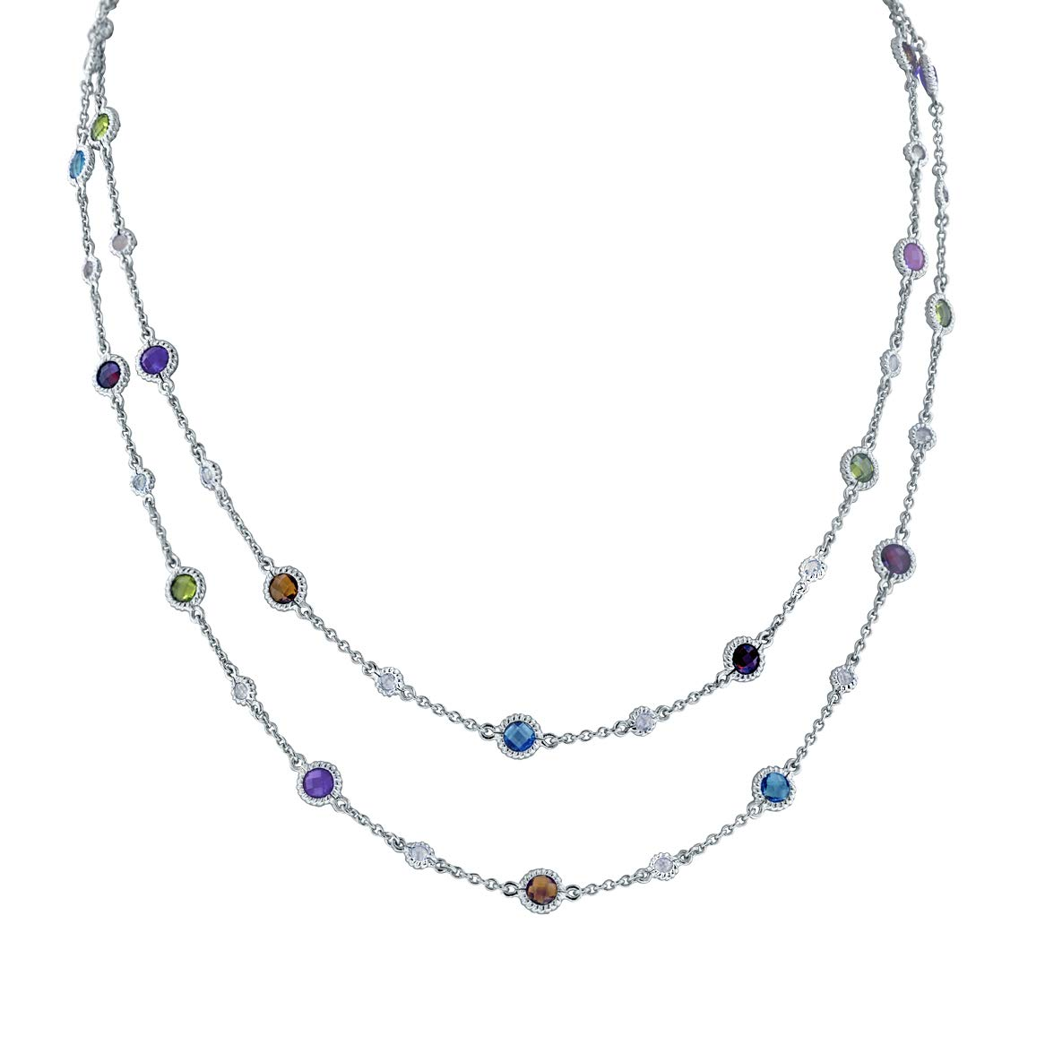 Robert Manse Designs Gem RoManse Rhodium Plated Silver Multi Gemstone 40'' Strand Necklace with White Topaz Accents by Robert Manse Designs
