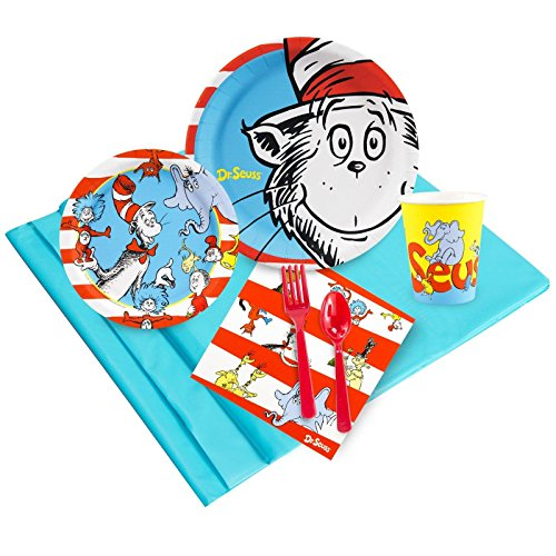 Dr Seuss Party Supplies - Party Pack Bundle for 24 (Birthday The Party 1st In Cat Hat)
