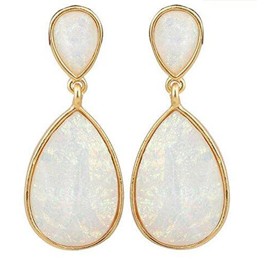 [GERGER BO Women's Alloy Resin Teardrop-Shaped Earrings(White)] (Scrabble Fancy Dress Costume)