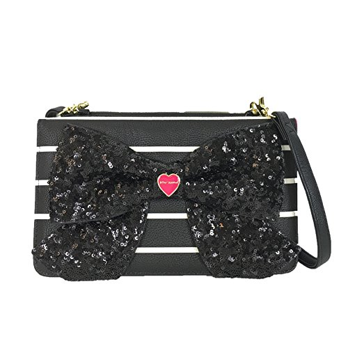 Betsey Johnson Bow Wallet On A String Crossbody, Striped