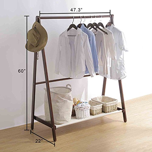 Jerry & Maggie - Garment Rack Cloth Rack Natural Sturdy Wood Coat Rack Clothes Hanging System Laundry Drying With Bottom Shelves | Foldable / Collapsible / Luxury by Jerry & Maggie (Image #2)