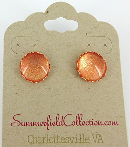 Rose Gold-tone Copper Shimmer Glitter Glass Stud Earrings 12mm Hand-painted (Shimmer Evening Jewelry)