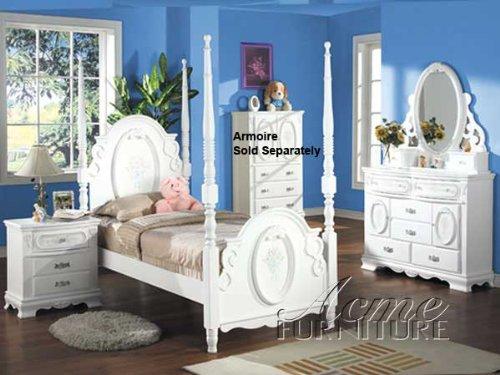 Acme Set Bedroom Set (Flora White Flower 4PC Girls 4 Post Twin Size Bedroom)