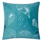 Homey Cozy Beach Collection Anchor Velvet Decorative Spa / Teal Pillow,  Feather Filled, Teal, Synthetic
