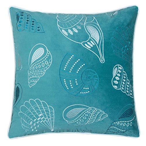 Homey Cozy Embroidery Teal Velvet Seashell Throw Pillow Cover,Ocean Series Nautical Decorative Pillow Case Coastal Beach Theme Home Decor 20x20,Cover Only