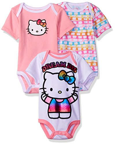 Hello Kitty Baby Girls' 3 Pack Boysuits, Multi, 12M