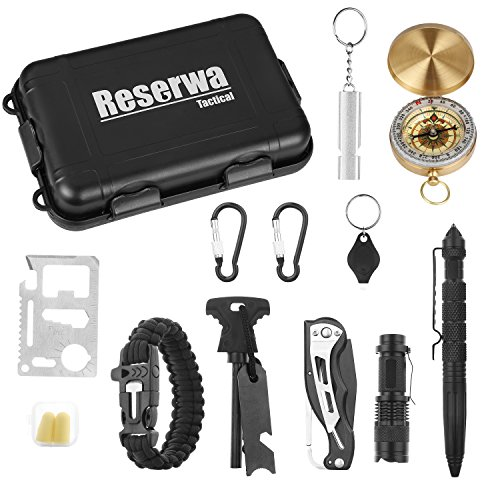 Reserwa Survival Gear 13 in 1 Emergency Survival Kit with Tactical Pen Survival Knife Tactical Flashlight Fire Starter Whistle Paracord Bracelets Survival Tools For Travelling Hiking