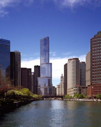 Posterazzi Skyscraper in a City Trump Tower River Chicago Cook County Illinois USA Poster Print (28 x 22)
