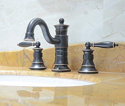 Diongrdk Three Hole Basin Basin Faucet, Black Washbasin, Washbasin, Toilet, Hot and Cold Water Mixing Faucet.