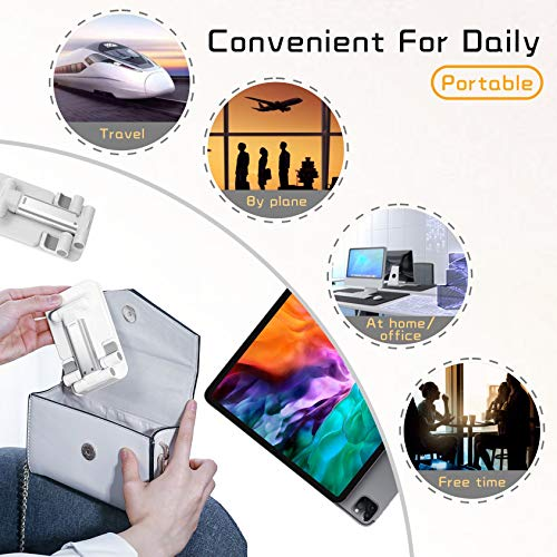 OHYGGE Adjustable Cell Phone Stand, Foldable Cell Phone Holder, Portable Desktop Tablet Stand, Compatible with iPhone/iPad/Kindle/Mobile Phone/Tablet, White