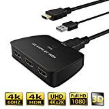 HDMI 2.0 Switch, ONEDAY 3x1 HDMI Switcher [HDR 4Kx2K@60Hz] [3D Compatible & HDCP 2.2 ][3 Inputs 1 Output 18Gbps] with One Fixed 31.5 inch HDMI Cable (Pigtail) for HDTV PS4 Xbox One DVD Blueray Player