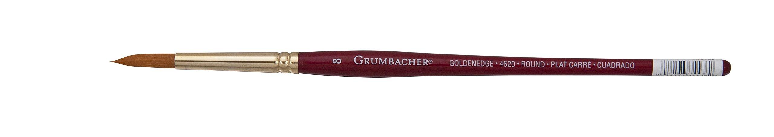 Grumbacher Goldenedge Golden Toray Round Watercolor Brush, Synthetic Bristles, Size 8 (4620.8) by GRUMBACHER