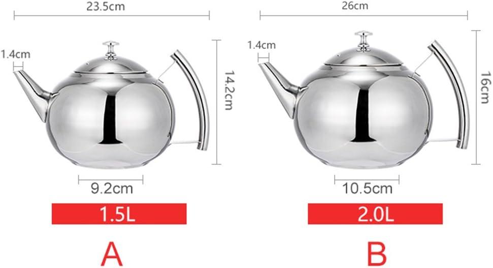 tetera de acero inoxidable de 1.5L con filtro infusor de t/é Cafetera cafetera infusor de tetera con tapa