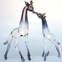 Hand Blown Glass Giraffe Mother and Baby Figurine