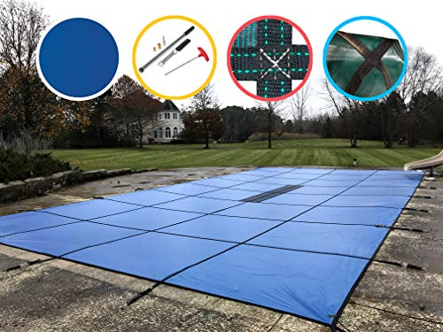 WaterWarden SCSB1428 Pool Safety Cover for 14 by 28-Feet Pool, Solid Blue (Steps To Close In Ground Pool For Winter)