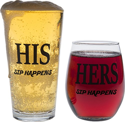 His and Hers Glass Set- Sip Happens, Pint Glass, Stemless Wine Glass, Wedding and Engagement Gifts for Couples