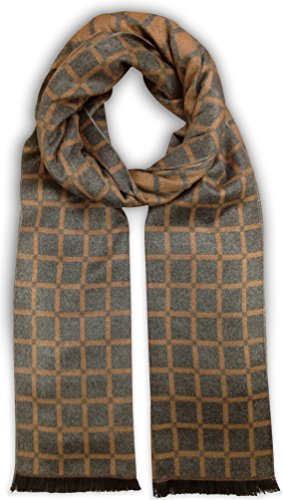 Bleu Nero Luxurious Winter Scarf Premium Cashmere Feel Unique Design Selection (Grey/Cognac Windowpane)