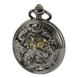 ManChDa Black Automatic Mechanical Pocket Watch Cranes Carved Mens Skeleton For Men Women
