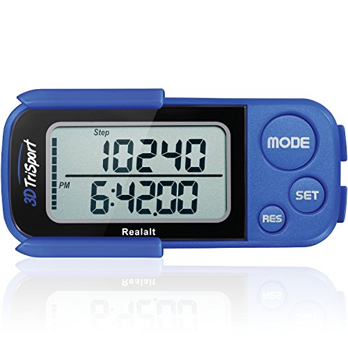 3DTriSport Walking 3D Pedometer with Clip and Strap, Free eBook | 30 Days Memory, Accurate Step Counter, Walking Distance Miles/Km, Calorie Counter, Daily Target Monitor, Exercise Time. (Blue) (Compact Pedometer)
